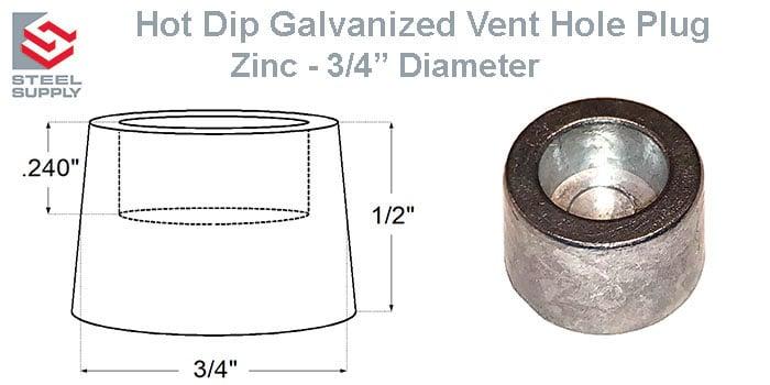 """Galvanized Vent Plug - 3/4"""" Zinc"""